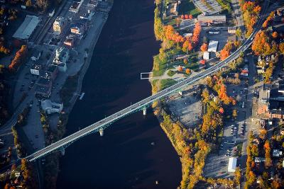 Aerial view of bridge to Augusta, Maine--Photographic Print