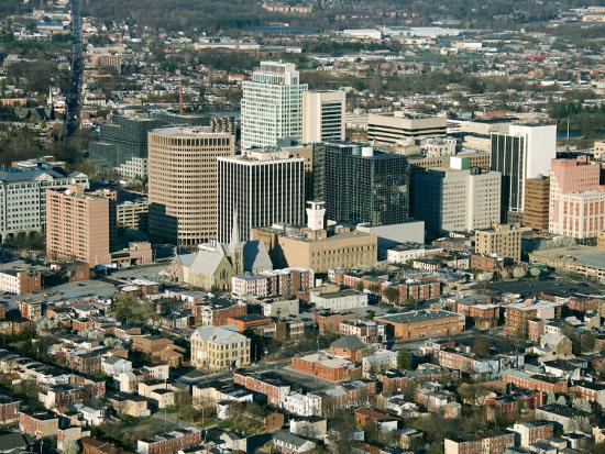 Aerial View of Buildings and High Rises of Cityscape in Wilmington, Delaware--Photographic Print