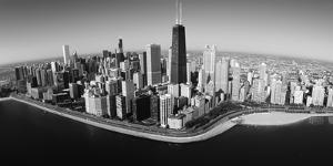 Aerial View of Buildings in a City, Lake Michigan, Lake Shore Drive, Chicago, Illinois, USA