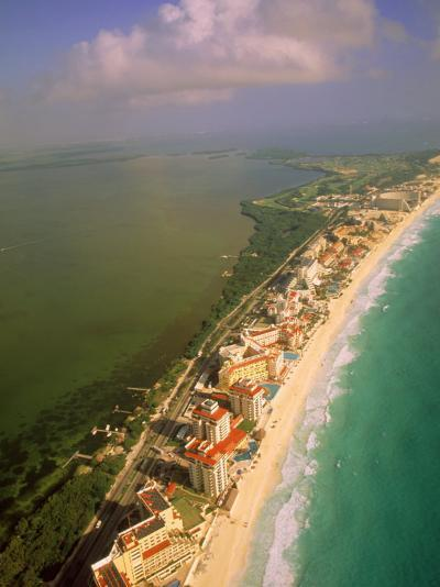 Aerial View of Cancun, Mexico-Walter Bibikow-Photographic Print