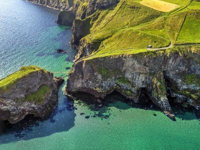 Aerial View of Carrick-a-Rede Rope Bridge on the North Irish Coast-Chris Hill-Photographic Print