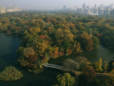 Aerial View of Central Park and the Manhattan Skyline in the Fall-Melissa Farlow-Photographic Print
