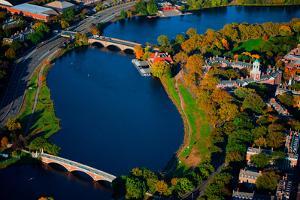 AERIAL VIEW of Charles River with views of John W. Weeks Bridge and Anderson Memorial Bridge, Ha...