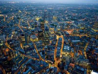Aerial View of City of London-Jason Hawkes-Photographic Print