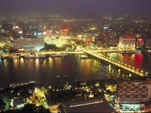 Aerial View of City Skyline in Cairo, Egypt at Night