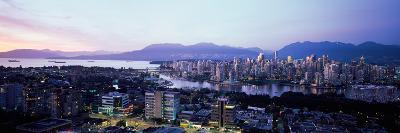 Aerial View of Cityscape at Sunset, Vancouver, British Columbia, Canada--Photographic Print