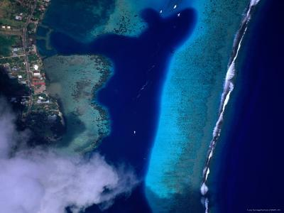 Aerial View of Coral Reef, French Polynesia-Peter Hendrie-Photographic Print
