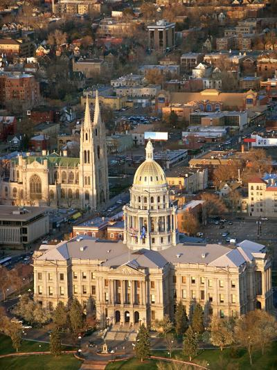 Aerial View of Denver with the Colorado State Capitol Building in Colorado--Photographic Print