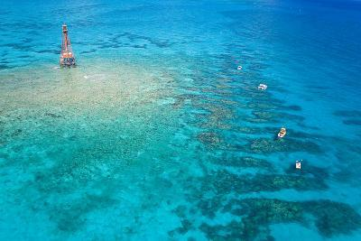 Aerial View of Diving and Snorkeling Boats-Mike Theiss-Photographic Print