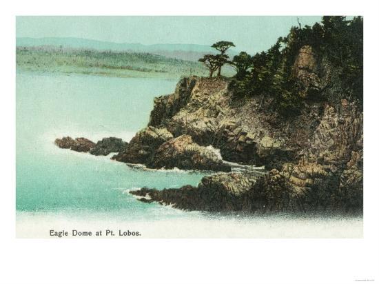 Aerial View of Eagle Dome at Point Lobos - Los Gatos, CA-Lantern Press-Art Print
