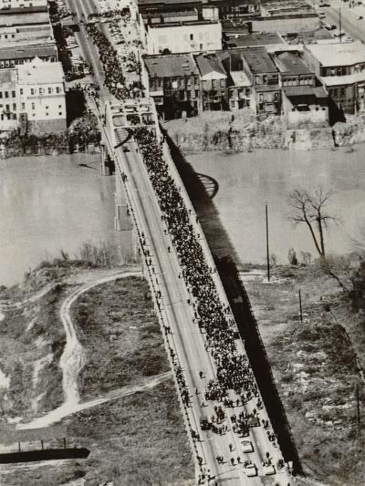Aerial View of Edmund Pettus Bridge During the Selma Alabama Voting Rights Campaign, 1965--Photo
