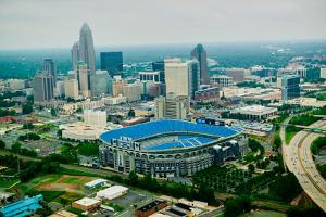 Aerial view of Ericcson Stadium and Charlotte, NC