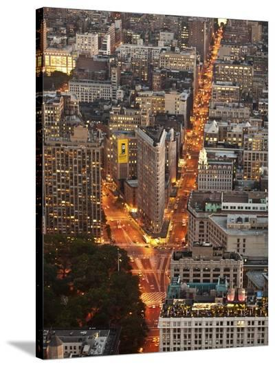 Aerial view of Flatiron Building, NYC-Michel Setboun-Stretched Canvas Print