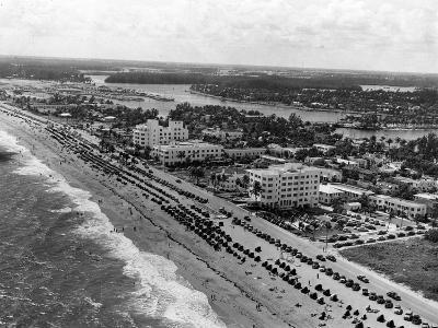 Aerial View of Fort Lauderdale Beach, 1950--Photographic Print
