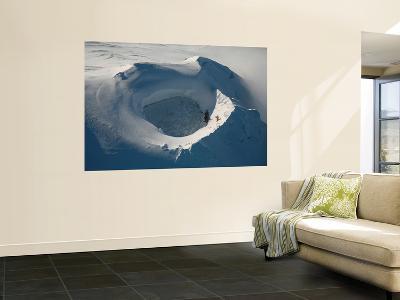 Aerial View of Frozen Lake in Summit Crater Mount Douglas Volcano, Alaskan Peninsula-Stocktrek Images-Wall Mural