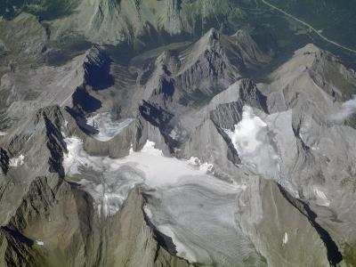Aerial View of Glacial Landscape, Glaciers, Cirques and Horns, Canadian Rockies, Alberta-Marli Miller-Photographic Print