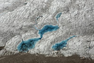 Aerial View of Glacial Pools on Ruth Glacier in Denali National Park and Preserve-Aaron Huey-Photographic Print