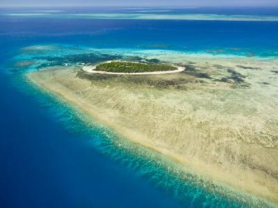 Aerial View of Green Island, The Great Barrier Reef, Cairns Area, North Coast, Queensland-Walter Bibikow-Photographic Print
