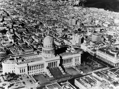 Aerial View of Havana Shows the Capitol with its Formal Gardens and Public Square in the Foreground--Photographic Print