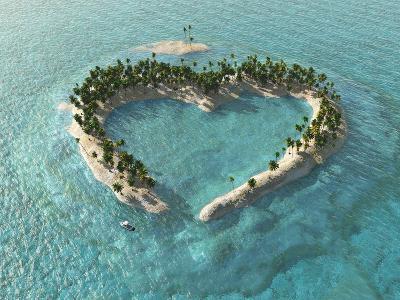 Aerial View Of Heart-Shaped Tropical Island-Mike_Kiev-Art Print