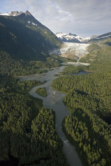 Aerial View of Herbert Glacier and Herbert River as it Winds its Way Down-Design Pics Inc-Photographic Print