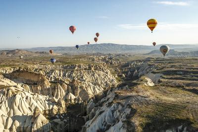 Aerial View of Hot Air Balloons, Cappadocia, Central Anatolia, Turkey-Ali Kabas-Photographic Print