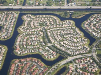 Aerial View of Housing Developments and Communities in Miami, Florida-Mike Theiss-Photographic Print