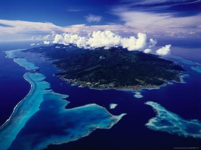 Aerial View of Island and Surrounding Reefs, French Polynesia-Manfred Gottschalk-Photographic Print