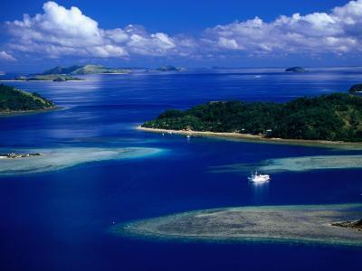 Aerial View of Island, Fiji-David Wall-Photographic Print