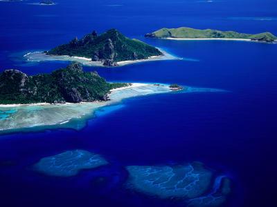 Aerial View of Islands, Fiji-David Wall-Photographic Print