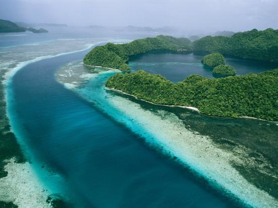 Aerial View of Islands in the Republic of Palau-Tim Laman-Photographic Print