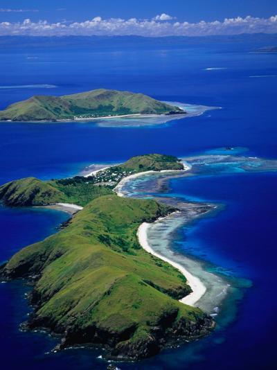 Aerial View of Islands with Yanuya Island in Foreground, Fiji-David Wall-Photographic Print