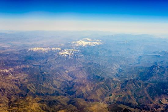 Aerial View of Kashmir Mountains, Near the Border of Pakistan and Afghanistan, Asia-Jason Langley-Photographic Print