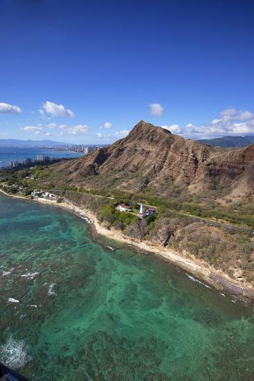 Aerial View of Lighthouse, Diamond Head, Waikiki, Oahu, Hawaii, USA-Douglas Peebles-Photographic Print