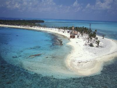 Aerial View of Lighthouse Reef, Belize-Greg Johnston-Photographic Print