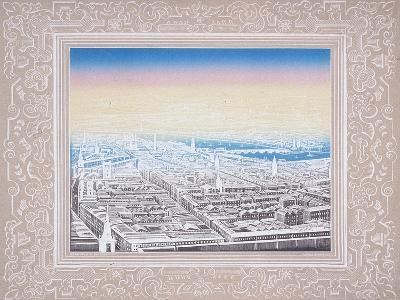 Aerial View of London Framed in a Decorative Border, C1845-Kronheim & Co-Giclee Print