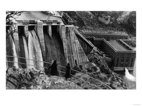 Aerial View of Long Lake Dam - Spokane, WA-Lantern Press-Art Print