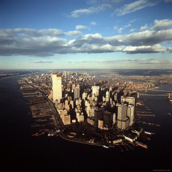 Aerial View of Lower Manhattan Skyline with Nearly Completed World Trade Center Towers-Henry Groskinsky-Photographic Print