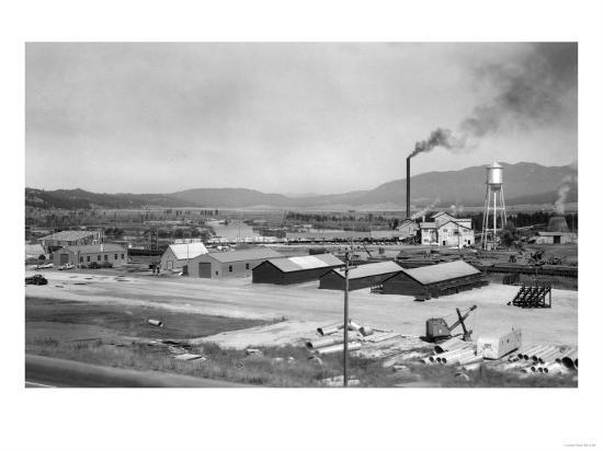 Aerial View of Lumber Mill - Cascade, ID-Lantern Press-Art Print