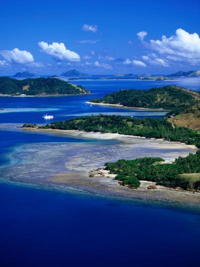 Aerial View of Malolo Island, Fiji-David Wall-Photographic Print