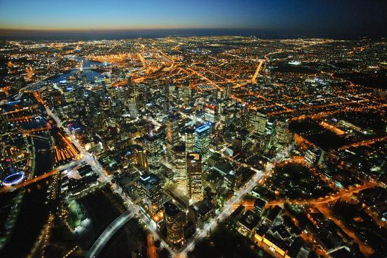aerial view of Melbourne, cityscape and rooftops, Australia-John Gollings-Photo