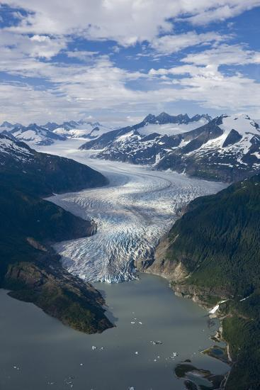 Aerial View of Mendenhall Glacier Winding its Way Down from the Juneau Icefield to Mendenhall Lake-Design Pics Inc-Photographic Print