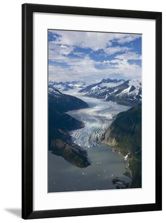 Aerial View of Mendenhall Glacier Winding its Way Down from the Juneau Icefield to Mendenhall Lake-Design Pics Inc-Framed Photographic Print