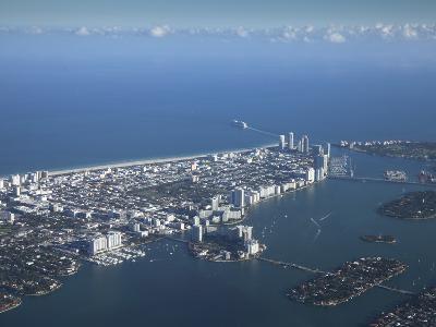 Aerial View of Miami Beach, Florida, United States of America, North America-Angelo Cavalli-Photographic Print