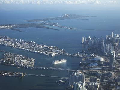 Aerial View of Miami, Florida, United States of America, North America-Angelo Cavalli-Photographic Print