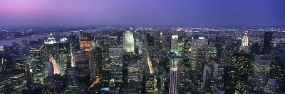 Aerial View of Midtown Manhattan Illuminated at Dusk-Design Pics Inc-Photographic Print