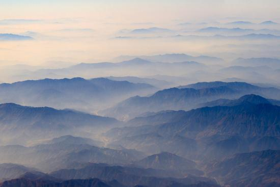 Aerial view of mountains, China-Keren Su-Photographic Print