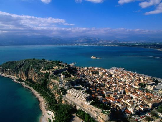 Aerial View of Nafplio (Nauplion) from Palamidi Fort, Nafplio, Greece-John Elk III-Photographic Print