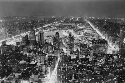 Aerial View of New York City, at Night--Photographic Print