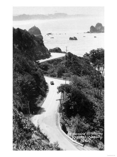 Aerial View of Redwood Highway with Old Car - California-Lantern Press-Art Print